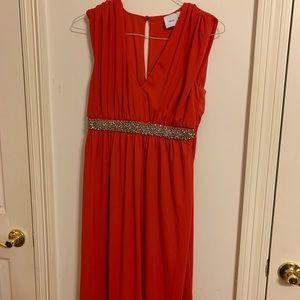 ASOS Maternity red formal gown, V neckline, long